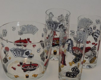 1960s Hazel Atlas Game and Casino Themed Barware, Ice Bucket and 3 High Ball Glasses