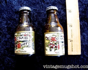 "Miniature Vintage Bottle  Acme Beer Salt and Pepper Shakers  3"" 1950's"