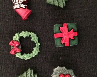 Christmas Magnets / Set of Six Holiday Magnets / Fun Magnets
