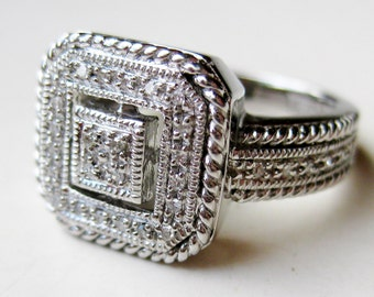 Vintage Ring Sterling Silver Art Deco Jeweled Faux Diamond Ring size 6.5