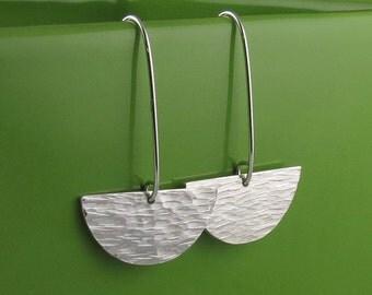 Sterling Silver Long Textured Half Circle Earrings-Handmade