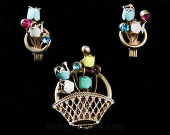 Pastel Flower Basket Pin & Earrings - Dainty 50s Jewelry - Spring Brooch Demi Parure Screwback - 1950s Pink Blue Yellow Green Tulips - 42399