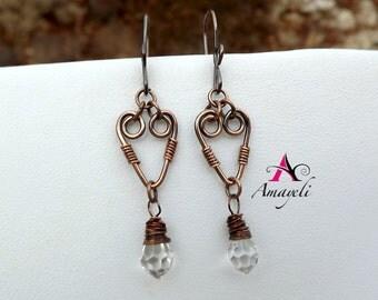 Copper earrings. Heart earrings. Crystal drop earrings. Handmade earrings. Rustic jewelry.