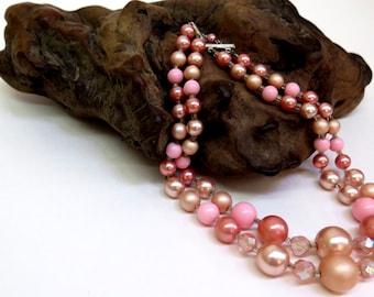 Choker Style Bead Necklace Vintage 70s Pink 2 Strand Bib Necklace