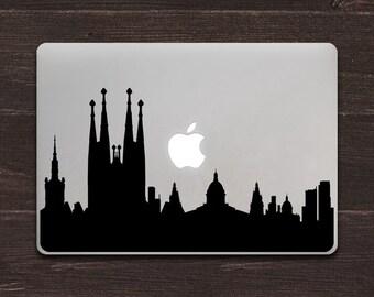 Barcelona Skyline Silhouette Vinyl MacBook Decal BAS-0316