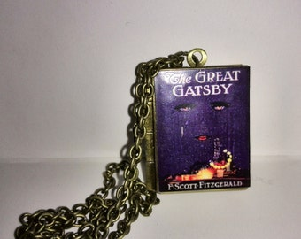 The Great Gatsby Vintage Book,Locket Pendant with an antique chain Handmade