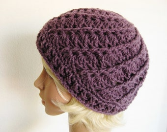 Crocheted Beanie - Dusty Plum Beanie - Purple Crocheted Beanie - Womens Beanie - Teeager Beanie - Crochet Hat