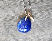 Lapis Leaf Necklace - 14k Gold and Sterling Silver Lapis Lazuli Necklace - Leaf Necklace