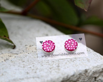 Pink Spotty Studs