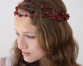 ON SALE Red Berry Triple Row Winter Vine Crown
