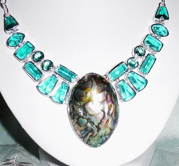 """CLEARANCE, Abalone Shell, Green Amethyst Necklace in .925 Sterling Silver, 73 grams, 21"""" adjustable"""