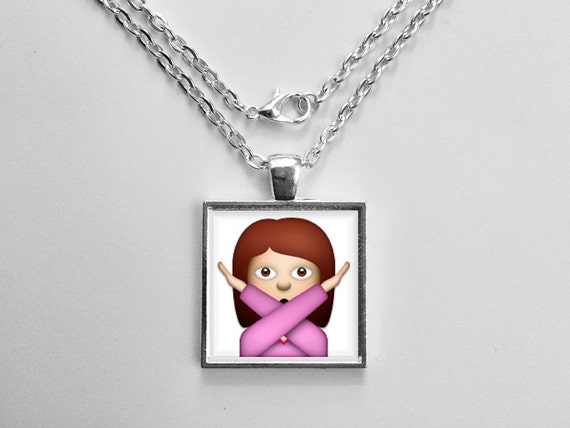 Brunette Girl Crossing Arms Emoji Necklace or Keychain