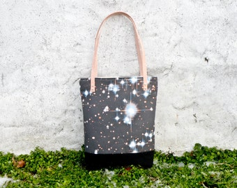 Galaxy Tote Bag, Outer Space Fabric Canvas Handbag, Black Purse, Star Astronomy Night Sky Lover, One of a Kind Gift for Her, Shoulder Bag