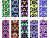 """CLOSEOUT SALE - 1"""" X 11"""" Digital Printable Strips for Beadmaking, Borders, Scrapbooking, Decoupage, Collage,  10 Designs, 2 Sheets BS 11"""
