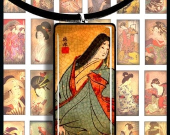 Printable Digital Collage Sheet, Digital Art, 1x2 Inch, Asian Art Tea Stained, Japanese Geisha, Dominoes Pendants Digital Collage Sheet CS 1