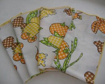 Set of Four Veggie Theme Vintage Napkins