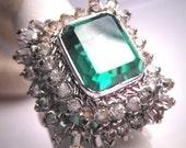 Antique Emerald French Paste Ring Vintage Art Deco Era 1930 Wedding