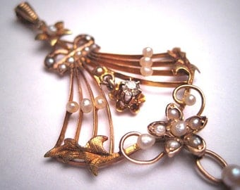 Magnificent Long Antique Pearl Diamond Necklace Victorian Pendant Gold c.1890