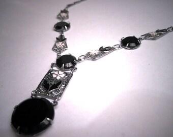 Antique Jet Black Enamel Drop Necklace Vintage Art Deco 1920 Rhodium