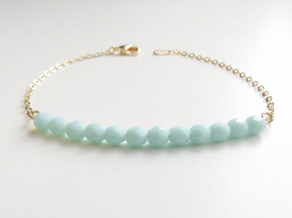 Light Turquoise Bracelet | Turquoise Beaded Bracelet | Turquoise & Gold Beaded Bracelet | Turquoise and Gold Braacelet
