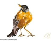 "American Robin Print, Bird Illustration, Digital Drawing, Animal Wildlife Art Postcard  4"" x 6"""