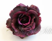 One Fully Bloomed Rose in Eggplant Purple - 4.5 Inches - Artificial Flower, Silk Flower, Millinery, Flower Crown