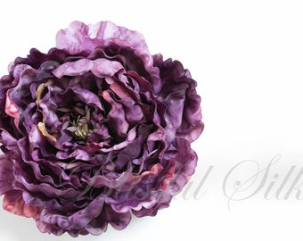 Silk Flower - One Jumbo Boutique Quality Purple Silk Peony - 7 Inches - Artificial Flowers
