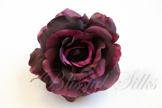 Silk Flowers - One Large Fully Bloomed Silk Rose in Eggplant Purple - 4.5 Inches - Artificial Flowers