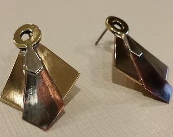 Art Deco Multi Layer Post Earrings