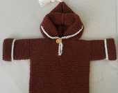 Hoodie/jumper/sweater, for a baby/toddler, hand knitted size12-24 months, suit boy or girl, warm brown shade of wool mix yarn.