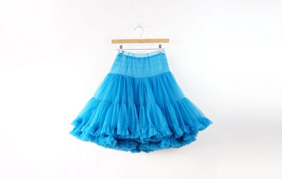 vintage petticoat skirt turquoise blue layer by