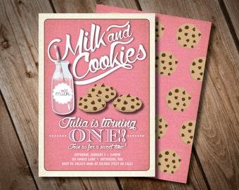 DIY Printable Milk and Cookies Birthday Invitation