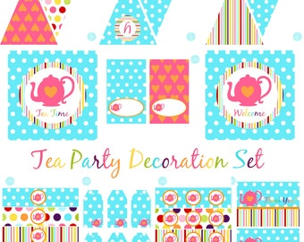 Tea Party Birthday Decorations - Tea Party Decorations - Tea Party Birthday -  Tea Party Shower INSTANT DOWNLOAD Printable Party BeeAndDaisy