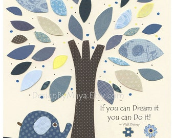 Baby boy, Nursery wall Decor, Children Art print, Harper, baby elephant, blue, navy and white, match colors Harper bedding, baby walt disney