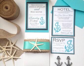 Anchor's Away Wedding Invitation Suite, Pocket Fold Invitation, Anchor Invitation, Turquoise Wedding Invitation
