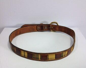 Vintage leather belt, preppy leather belt, plaid fabric belt, fabric and leather belt
