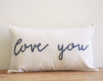 throw pillow, love you, typography pillow cover, phrase pillow cover, word pillow cover, kids decor, love you more, mother's day gift