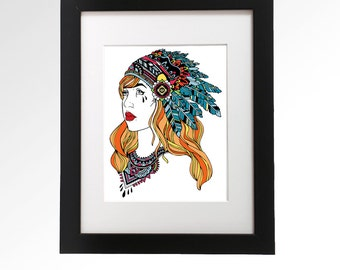 Headdress.  Archival ink giclee print.