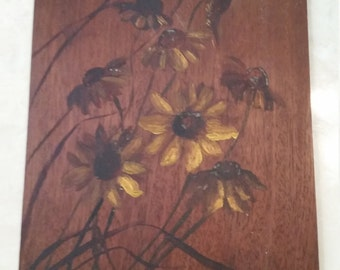Vintage Hand Painted Daisies Wood Pressed Wood 1960s Flowers