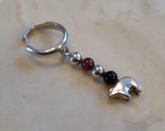 Vintage Sterling Silver 925 Ear Cuff Accessory Bear Garnet and Onyx Beads