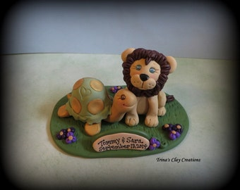Wedding Cake Topper, Lion and Turtle Custom Polymer Clay Wedding or Anniversary Keepsake, Personalized