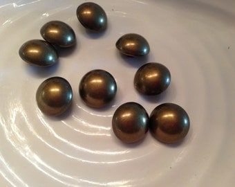 All the same button - 9 vintage gold metal shank buttons