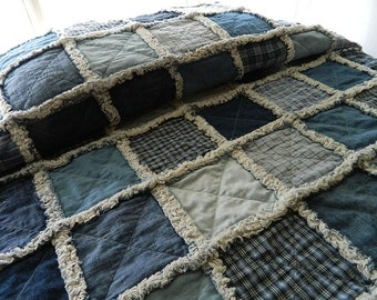 "Denim Rag Quilt, Denim Quilt, Rag Quilt, Denim and Homespun Quilt, Primitive Quilt,  Country Cabin Quilt, ""Twin Size"" Other Sizes Available"