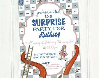 Vintage Chutes and Ladders Printable Invitation