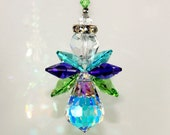 Suncatcher m/w Swarovski Crystal - Extremely RARE Aurora Borealis Body - PEACOCK COLORS Angel, Includes an Elements Tag for Authenticity