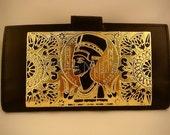 Egyptian Black Genuine Leather Nefertiti Wallet Purse