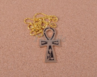 "Egyptian brass black enameled Ankh "" Life key "" Necklace halloween"
