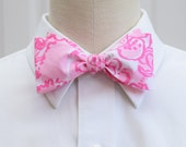 Lilly Bow Tie in PB pink She's a Fox (self-tie)