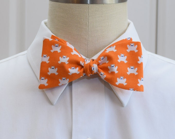 Men's Bow Tie, orange with white frogs, self tie bow tie, zoo wedding bow tie, frog lover bow tie, cute frog bow tie, tangerine bow tie