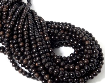"Dark Brown Tiger Ebony, Natural Wood Beads, Round, Smooth, 6mm - 7mm, Small, Full 16"" Strand, 70pcs - ID 1307-DK"
